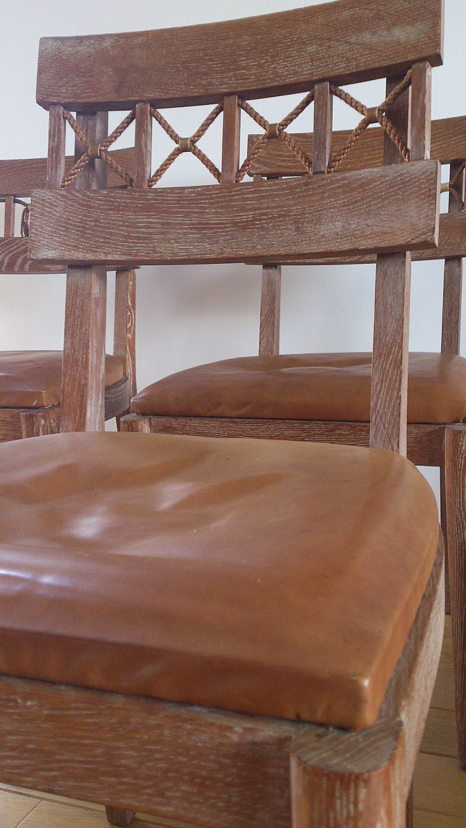 Suite of 6 solid oak French deco chairs