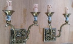 Pair of brass and glass sconces