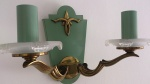 1940's suite of three brass steel sconces