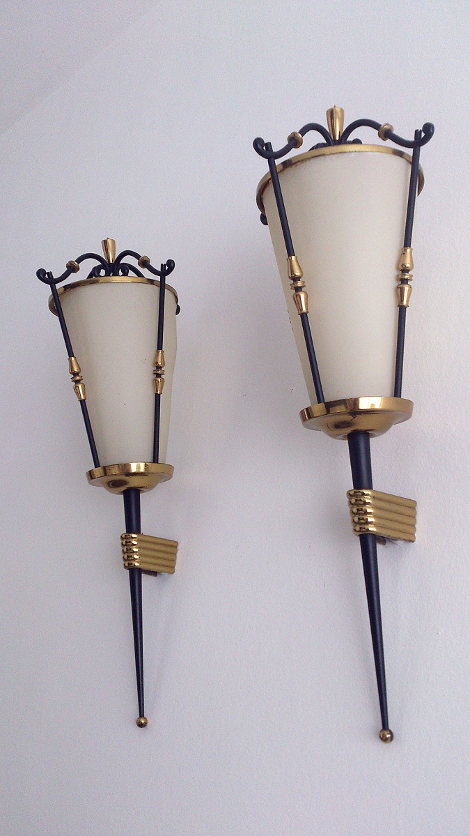 Arlus steel and brass sconces