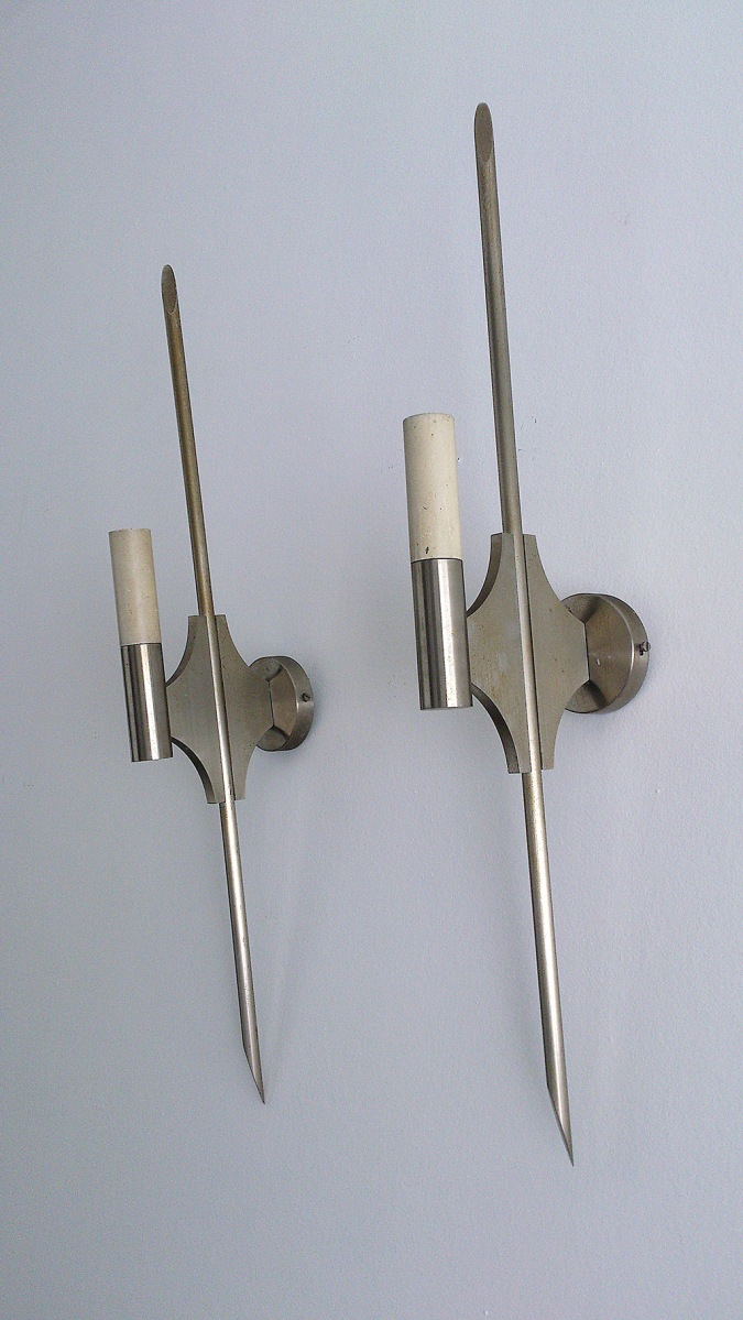 1970's solid steel sconces