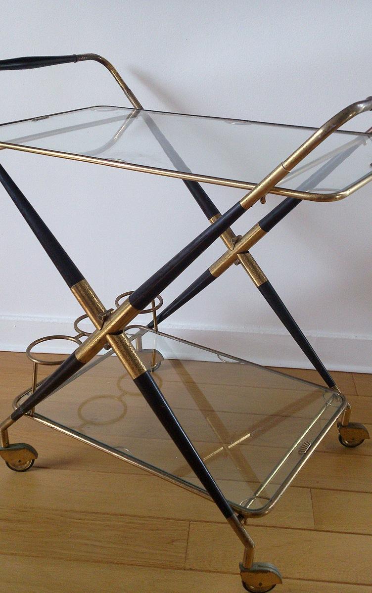 Mahogany & Brass folding bar cart