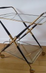 Mahogany & Brass folding bar cart