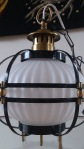 frosted glass and brass hanging lamp