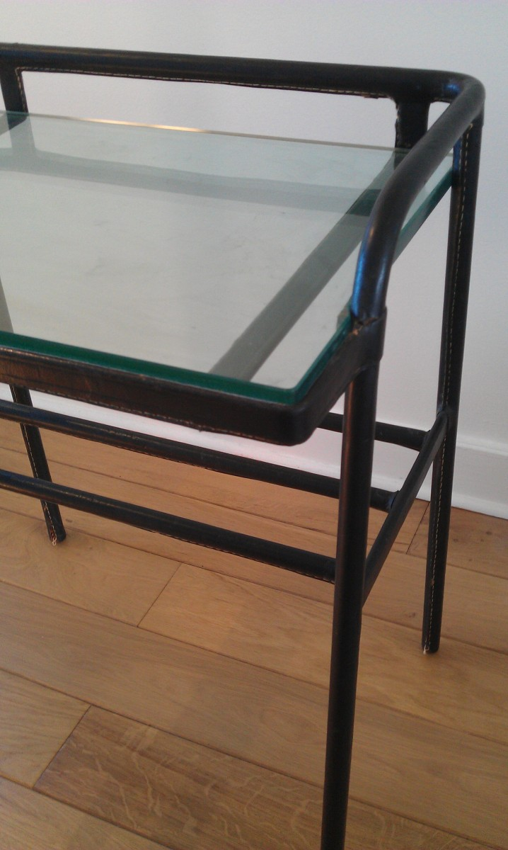 ADNET Leather and Glass Coffee Table