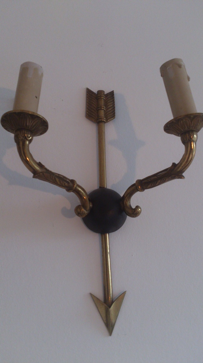 Pair of French neo classical sconces bronze and steel - 1950's