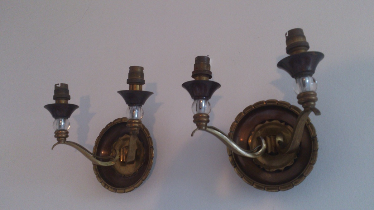 a rare pair of French 1950 brass and glass in the style of Genet & Michon