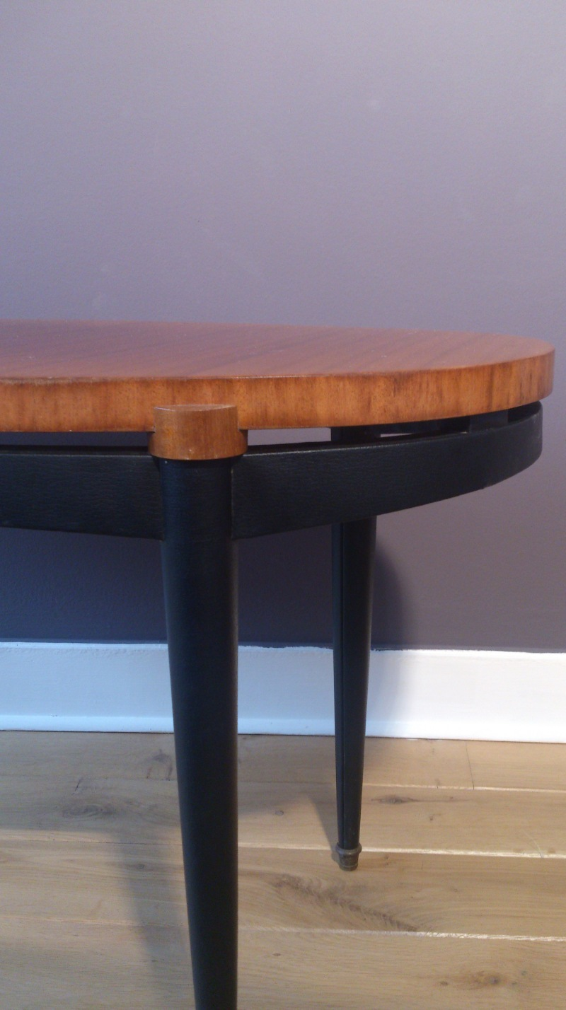 Elegant cherry wood and faux leather French 1960 table