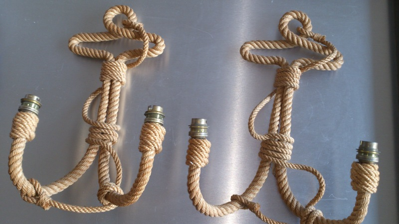 Audoux Minet - rope sconces - France 1960's