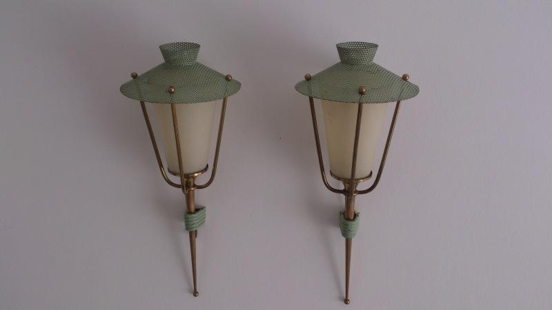 Arlus - pair of vert d'eau rigitulle & brass sconces
