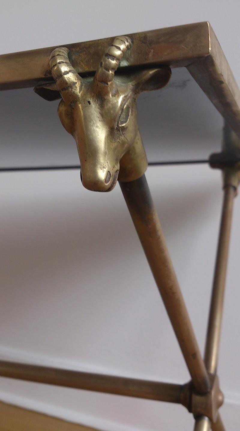Maison Jansen (att) - ram head & feet brass and glass coffee table - France 1960's