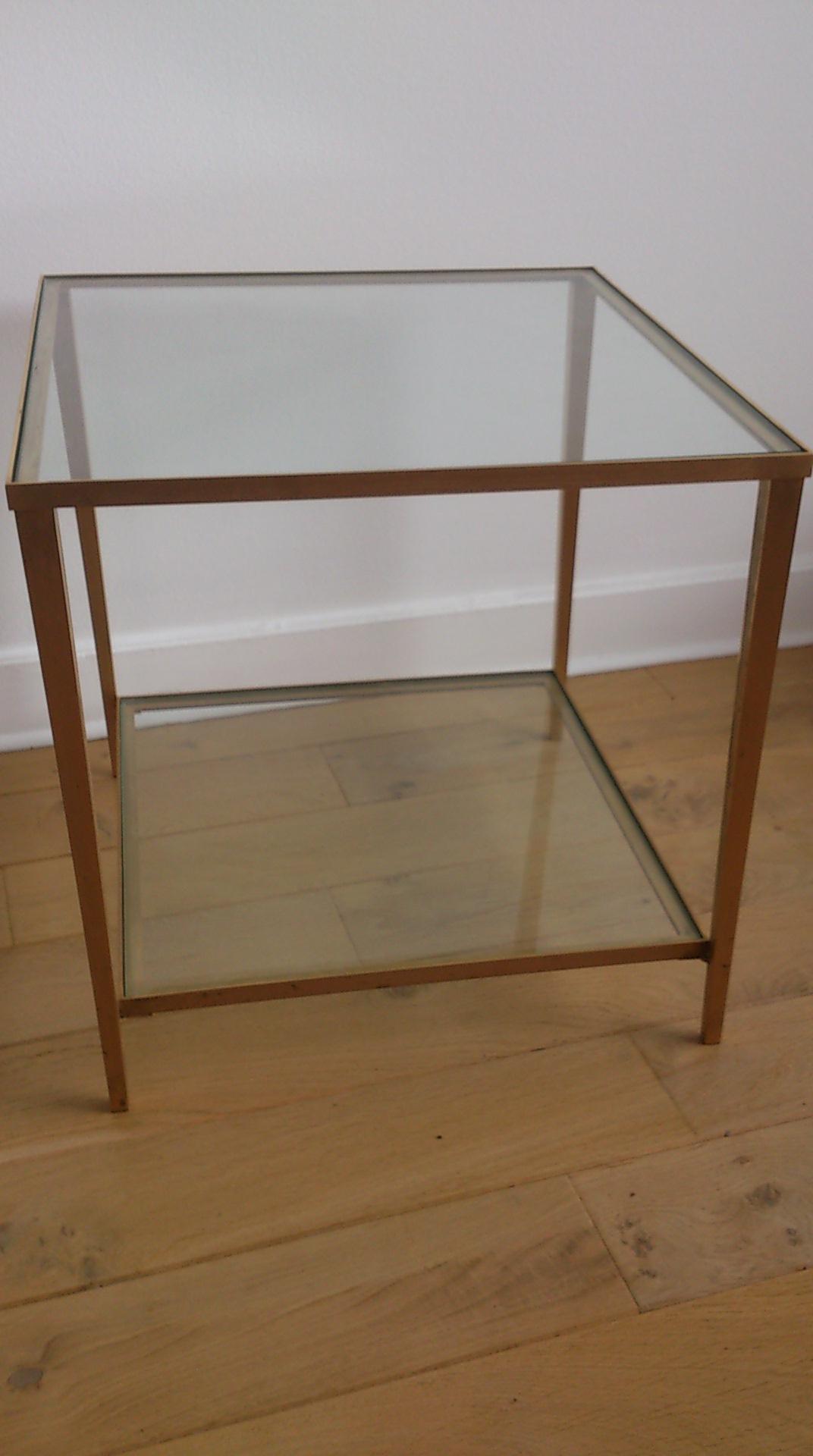 Maison Jansen U2013 Elegant Brass And Glass Side Table U2013 Compas Feet U2013 France  1960u0027s ...
