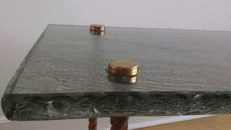 Maison Ramsay brutalist thick glass and brass occasional table - France 1960's