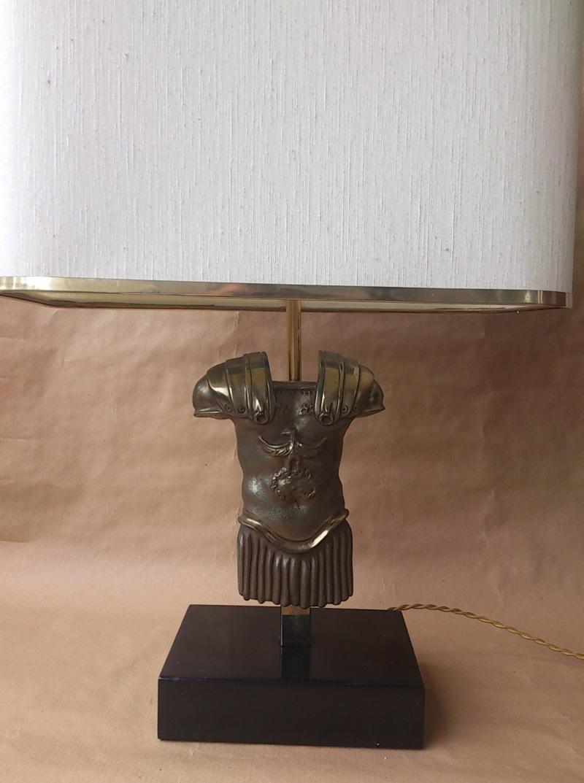 France - 1960's - gladiator torso bronze table lamp