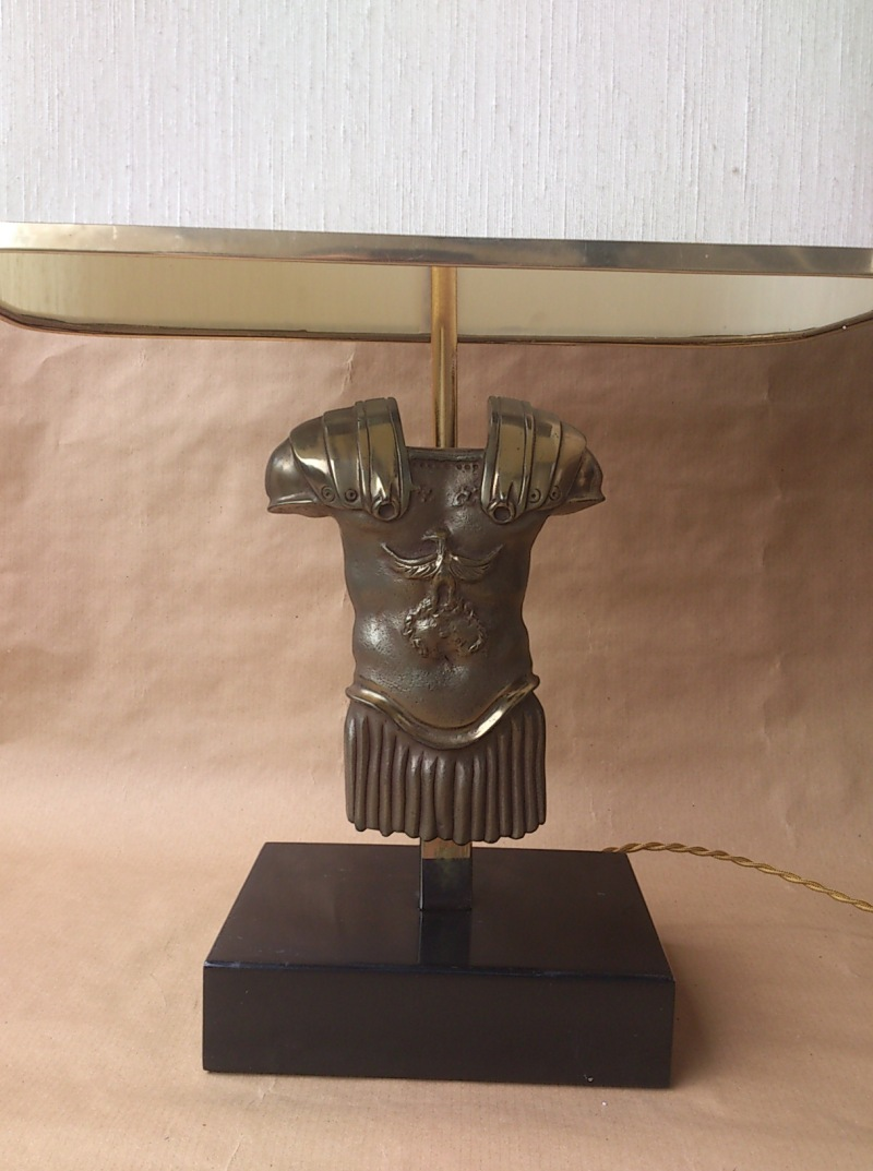 France - 1960's - gladiator torso bronze table lamp