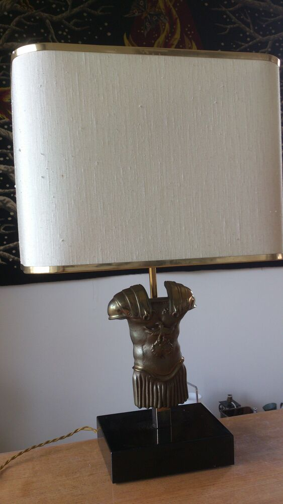 bronze gladiator torso table lamp