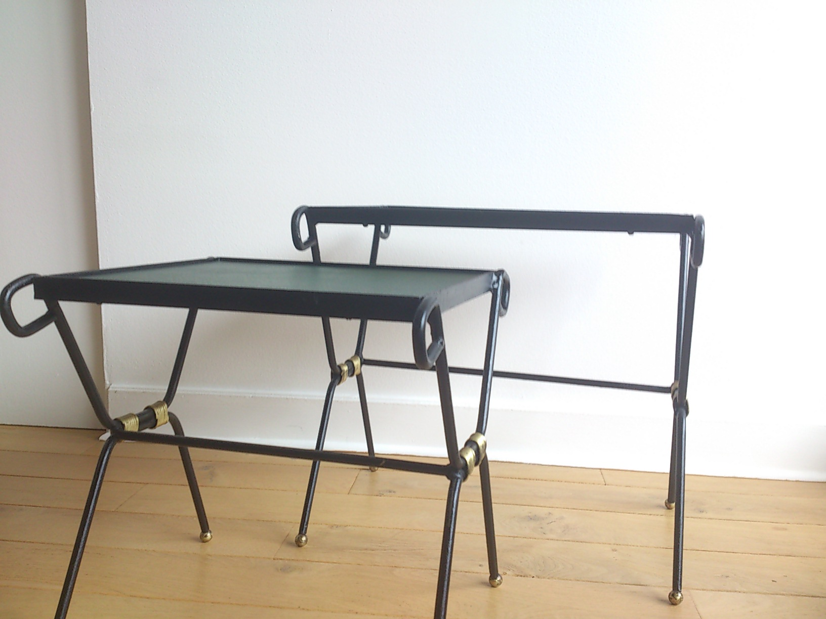 ... 1950u0027s Pair Of Wrought Iron, Gilt And Leatherette Nesting Tables    France, 1950u0027s