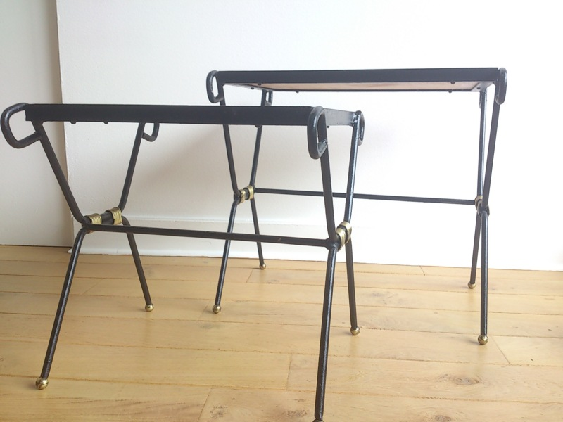 Pair of wrought iron, gilt and leatherette nesting tables - France, 1950's