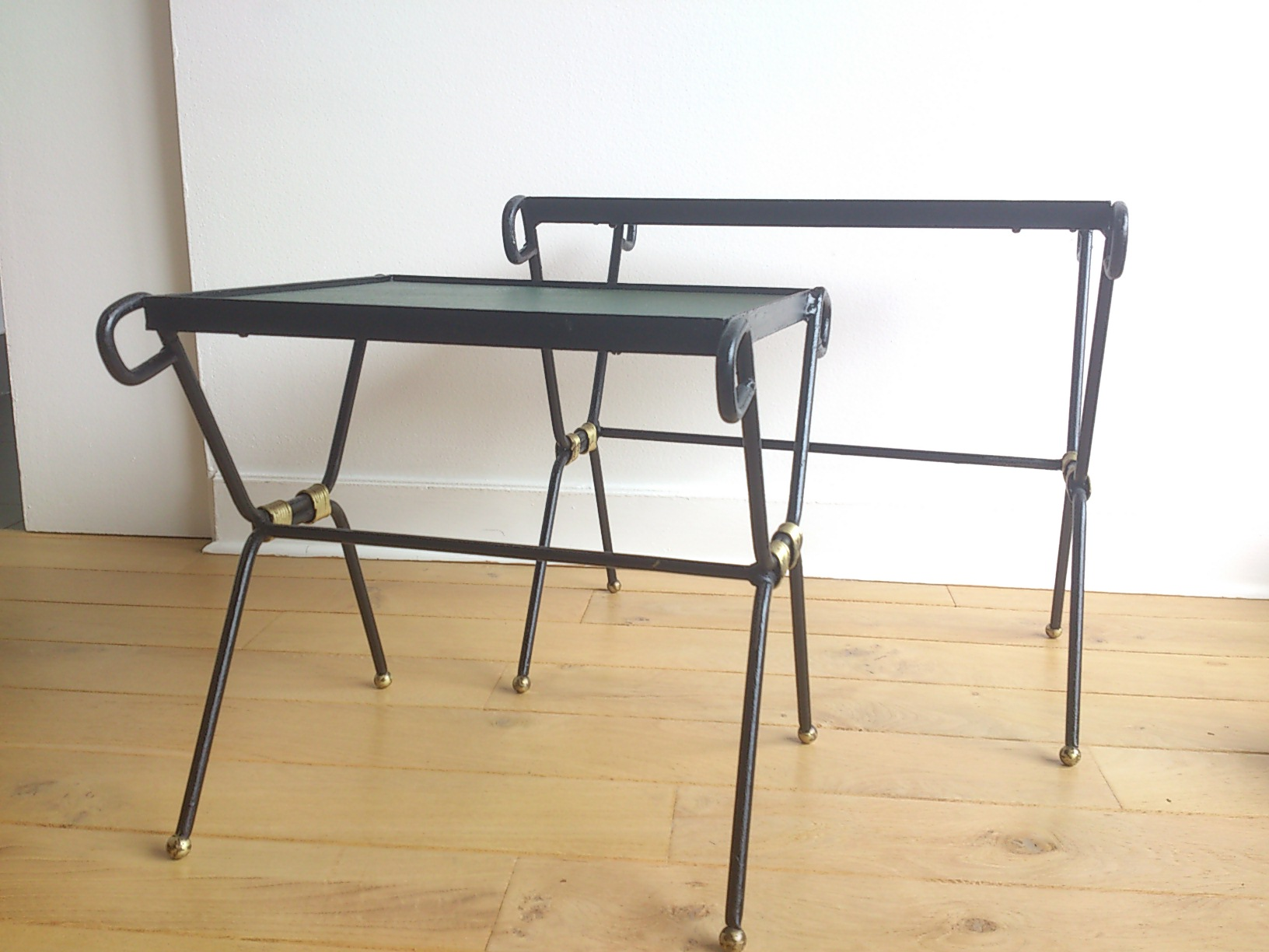 Pair Of Wrought Iron, Gilt And Leatherette Nesting Tables   France, ...