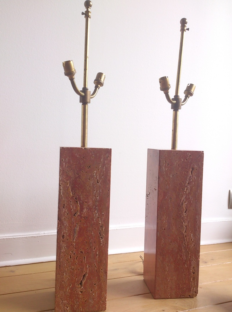 Superb pair of pink travertine lamps - Italy 1960's