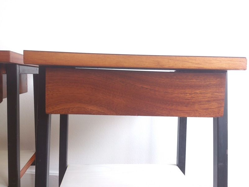 Night stands by Alain Richard - Meurop - France 1960's - blond mahogany and white laminate