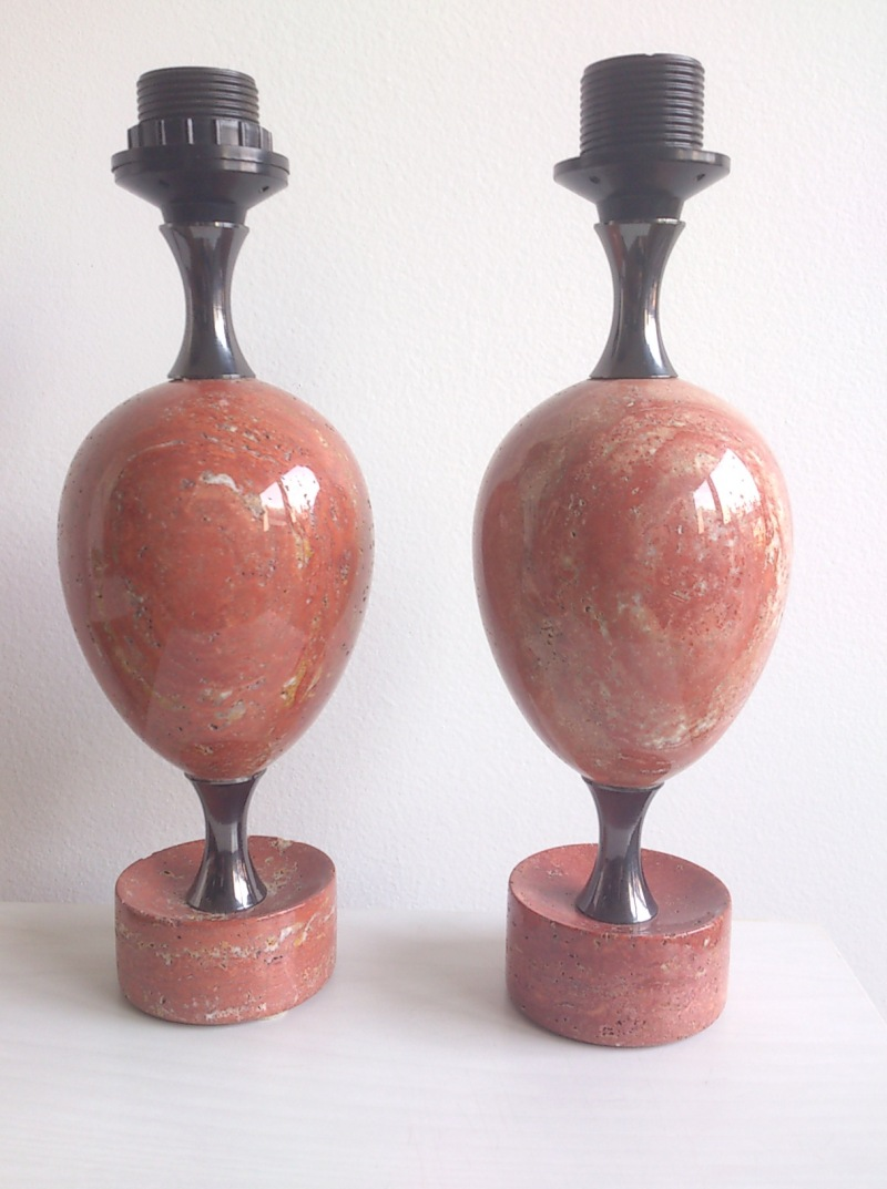 Maison Barbier pair of petite polished pink travertine - France, 1960's