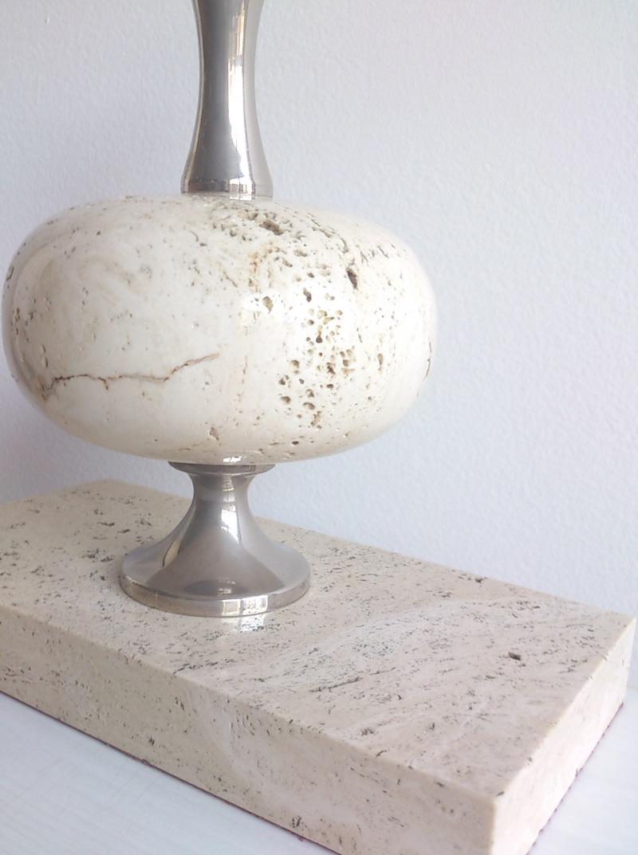 Maison Barbier white travertine desk lamp with unusual rectangular base