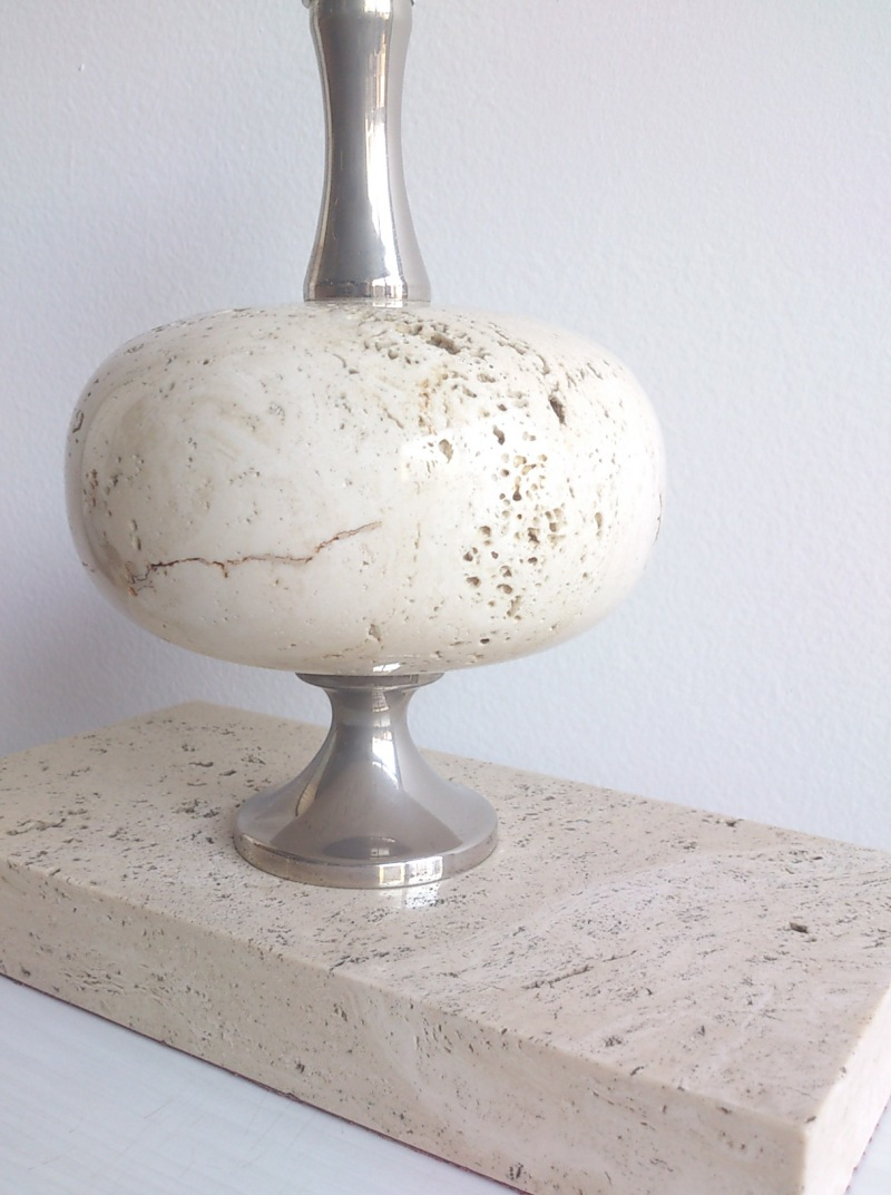 Maison Barbier white travertine desk lamp with unusual rectangular base