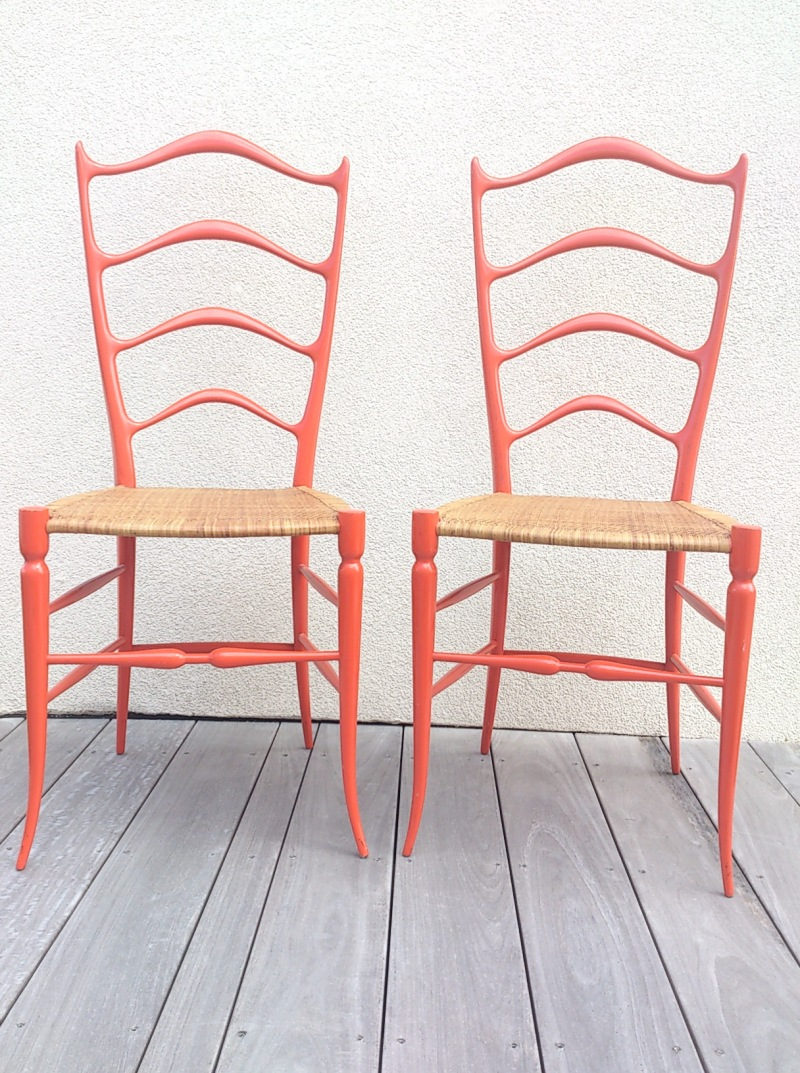 exceptional pair of Italian 1960's chairs in the manner of Ponti's Superleggera
