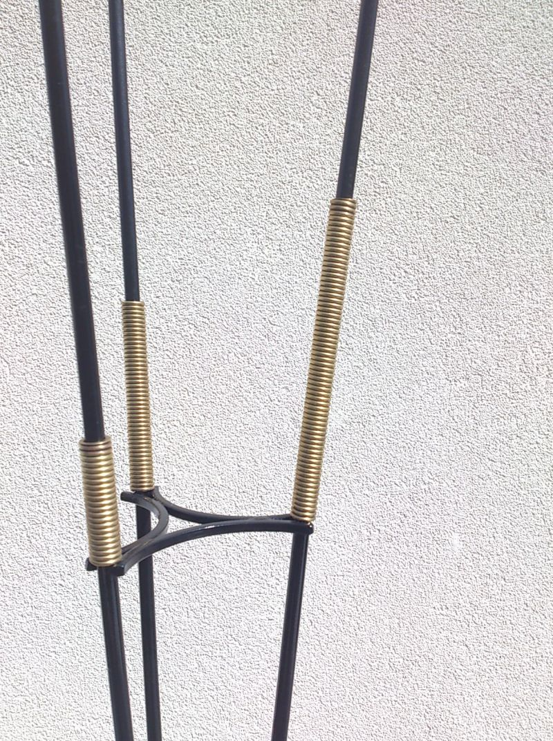 chic 1960's floor lamp with triangle shape base in brass - in the manner of Adnet