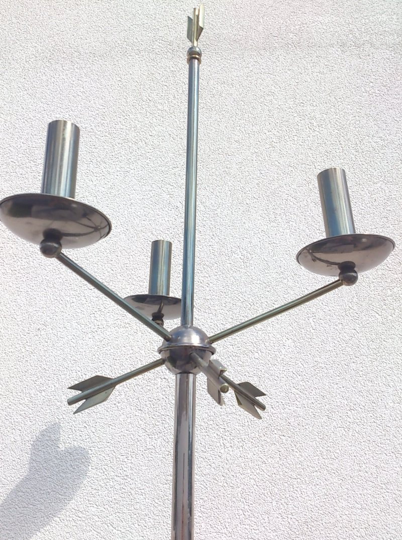 outstanding 1950's gunmetal neo classical floor lamp - France