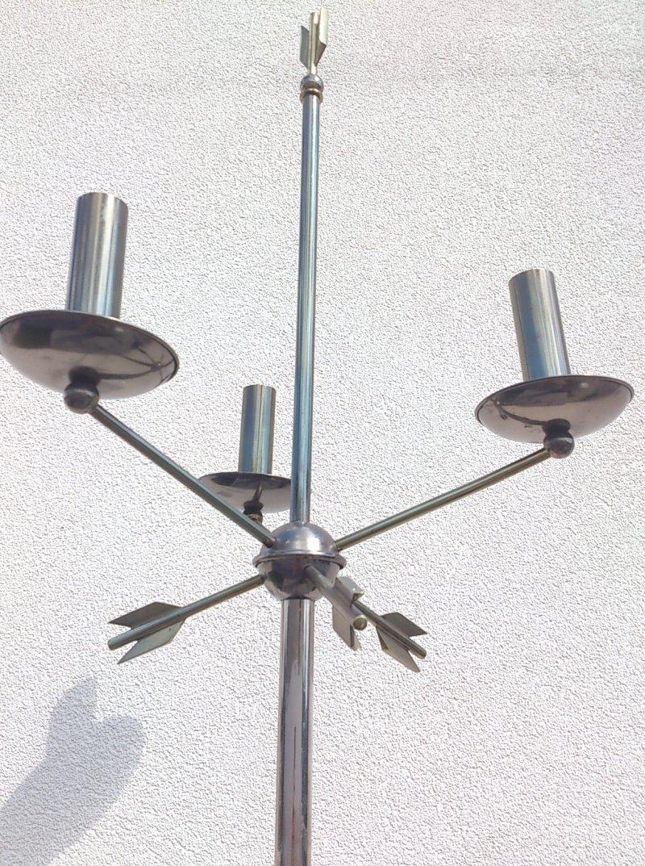 outstanding 1950's gunmetal neo classical floor lamp - France