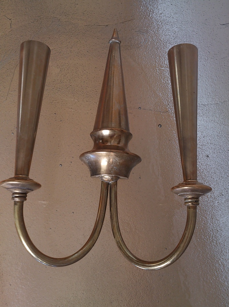 Pair of brass conic shaped sconces - Italy, 1950's