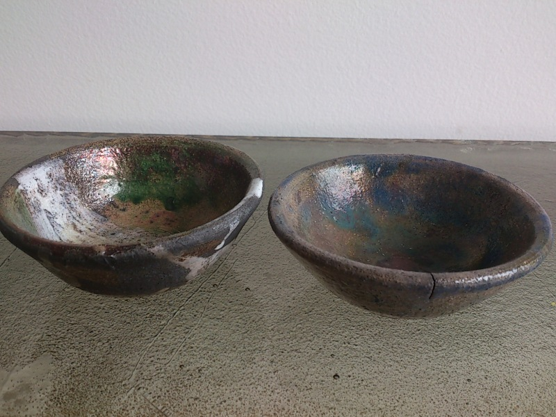 Pair of petite raku cups - 1970's
