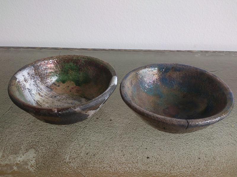 Pair of petite raku cups - 1970's