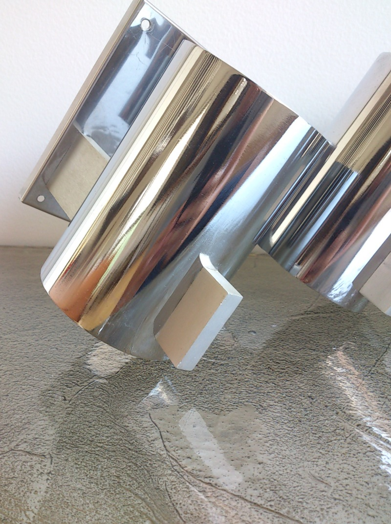 Pair of chrome and brushed aluminum sconces - France 1970's
