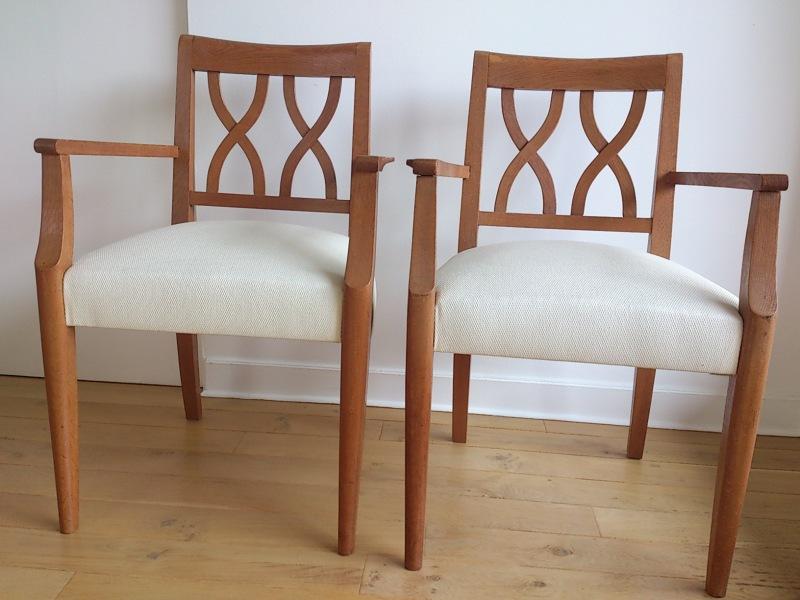 DSC_0993Guermonprez - Pair of 1950's French oak seats