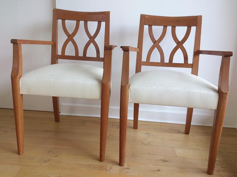Guermonprez - Pair of 1950's French oak seats