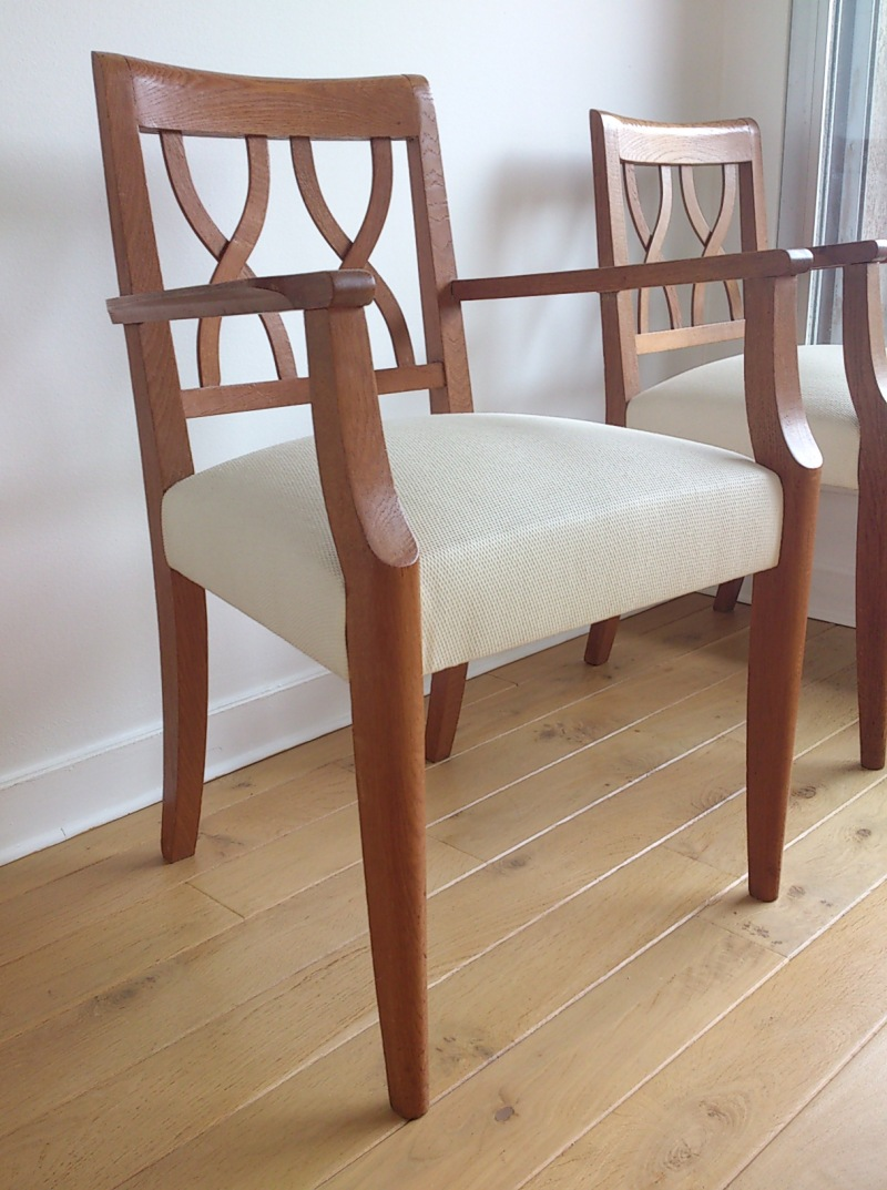 Guermonprez - Pair of 1950's French oak seats