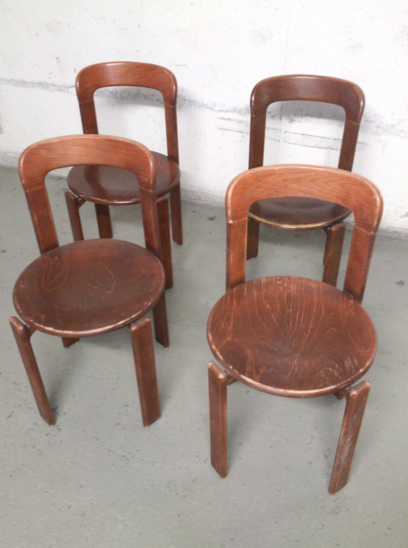 Set of 4 Bruno Rey chairs (8 chairs available in total) - Switzerland 1960's