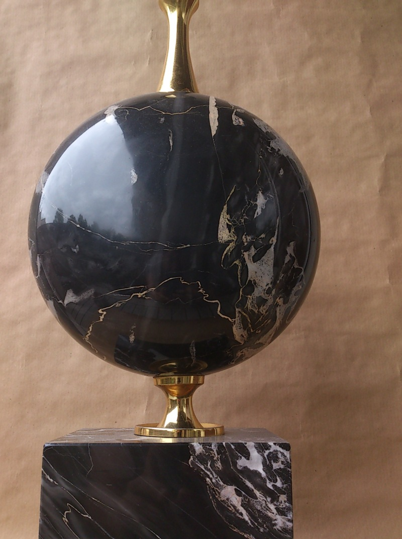 Exceptional and oversized Maison Barbier lamp in veined black marble and brass - France 1960's