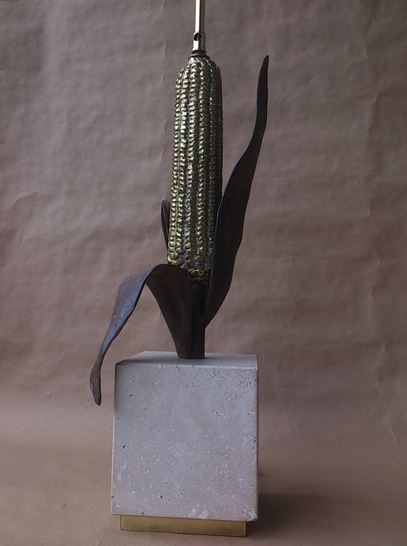 Brass and enameled steel elegant corn lamp in the style of Maison Charles - France 1970's